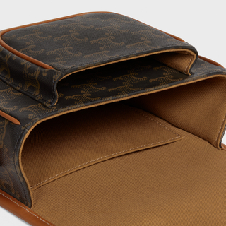 Medium Folco bag in Triomphe Canvas and calfskin - Tan - HANDBAGS - 4   CELINE